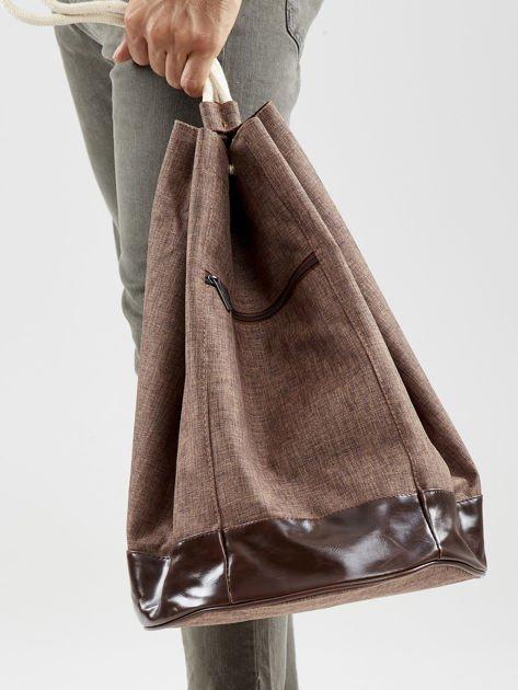 Brązowy materiałowy plecak worek męski                              zdj.                              5