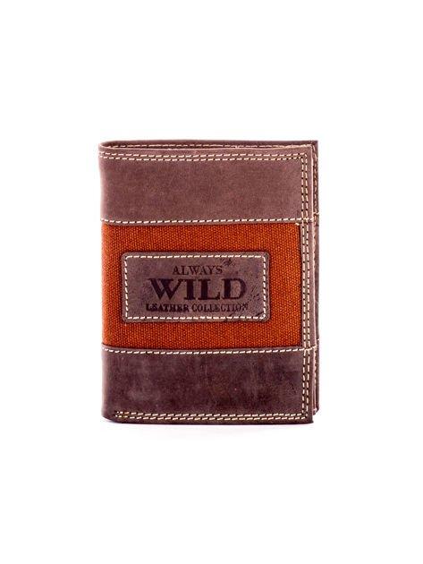 Brązowy męski skórzany portfel z materiałowym modułem                              zdj.                              1