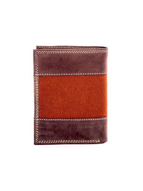 Brązowy męski skórzany portfel z materiałowym modułem                              zdj.                              2