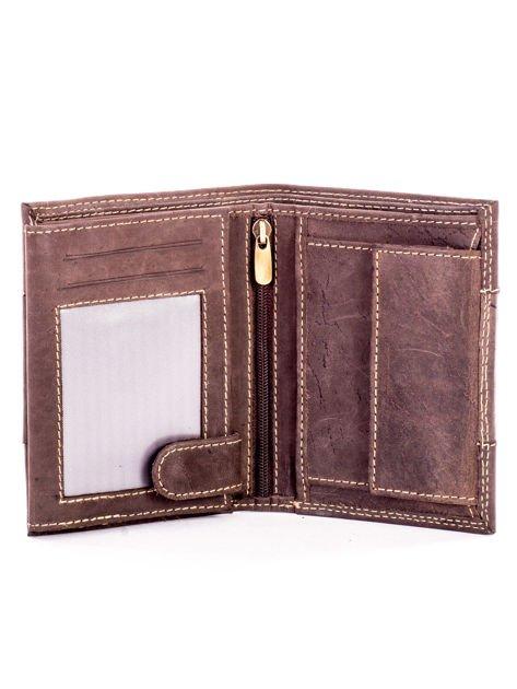 Brązowy męski skórzany portfel z materiałowym modułem                              zdj.                              4