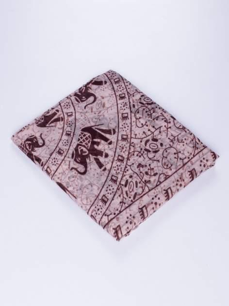 Brązowy orientalny szal we wzór ze słoni                                  zdj.                                  2