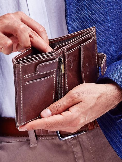 Brązowy portfel dla mężczyzny z zapięciem na zatrzask                              zdj.                              3