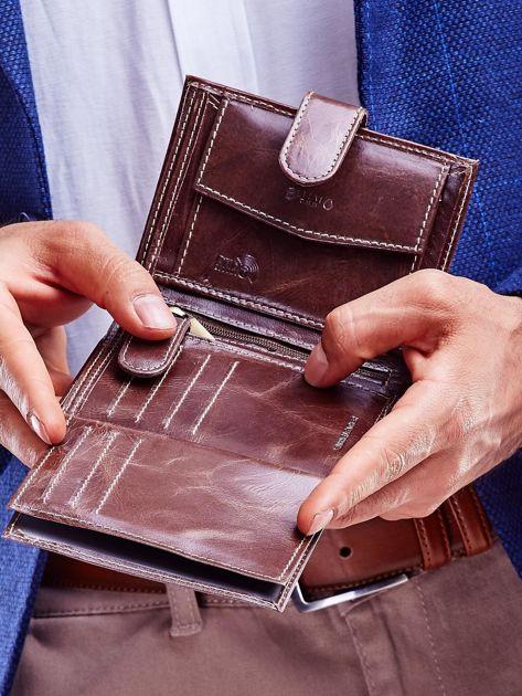 Brązowy portfel dla mężczyzny z zapięciem na zatrzask                              zdj.                              4