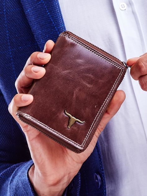 Brązowy portfel dla mężczyzny zapinany na suwak                              zdj.                              1