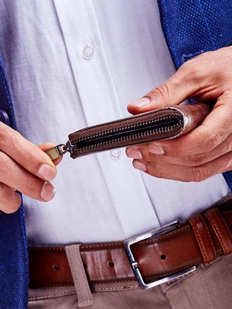 Brązowy portfel dla mężczyzny zapinany na suwak                              zdj.                              3
