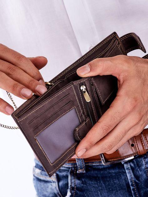 Brązowy portfel męski skórzany z łańcuszkiem                              zdj.                              5