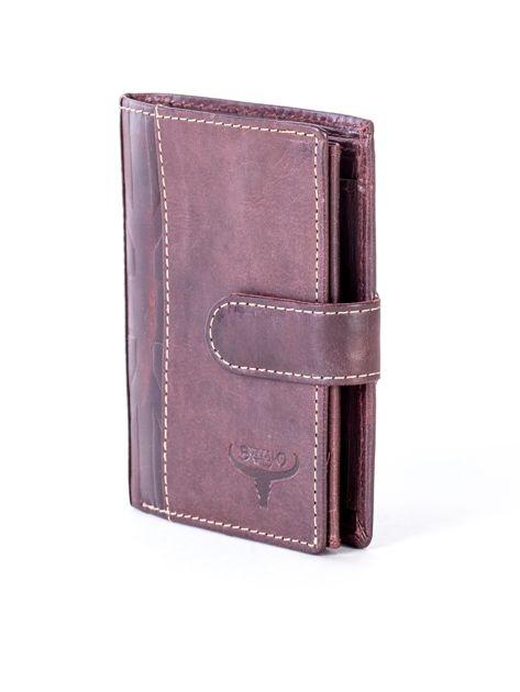 Brązowy portfel męski ze skóry z pionowym tłoczeniem                              zdj.                              3
