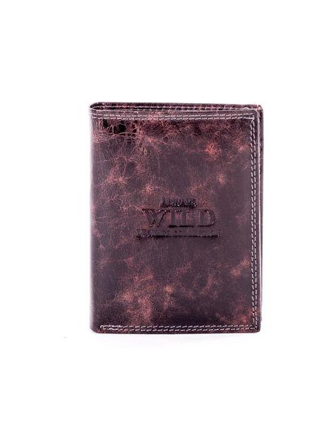 Brązowy portfel męski ze skóry z przetarciami