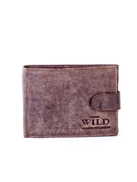 Brązowy portfel męski ze skóry zapinany na zatrzask