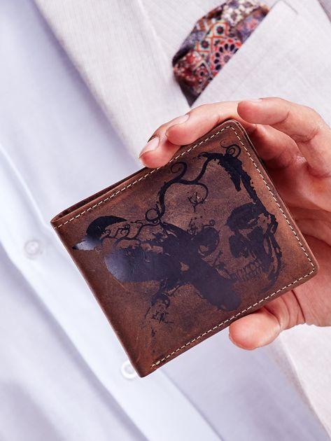 Brązowy portfel skórzany z motywem czaszki                              zdj.                              1