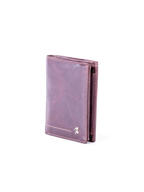 Brązowy portfel skórzany z przeszyciami                              zdj.                              3