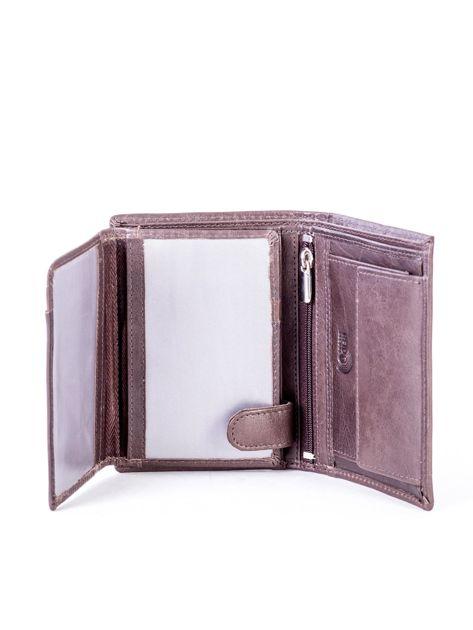 Brązowy portfel skórzany z przeszyciem                              zdj.                              5