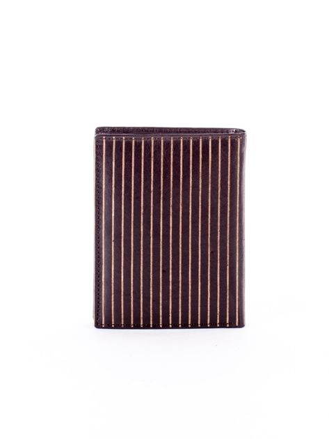 Brązowy portfel ze skóry naturalnej w paski                              zdj.                              2