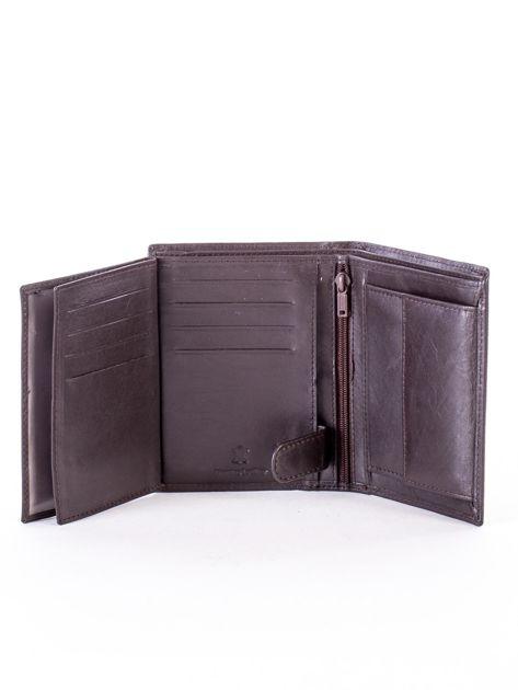 Brązowy portfel ze skóry naturalnej w paski                              zdj.                              6