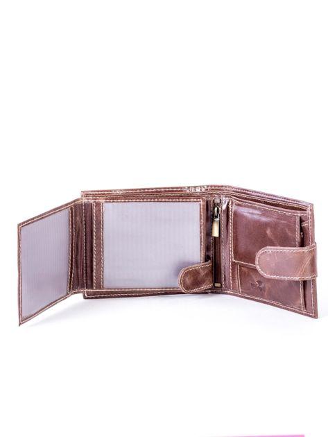 Brązowy portfel ze skóry naturalnej z przetarciami                              zdj.                              5