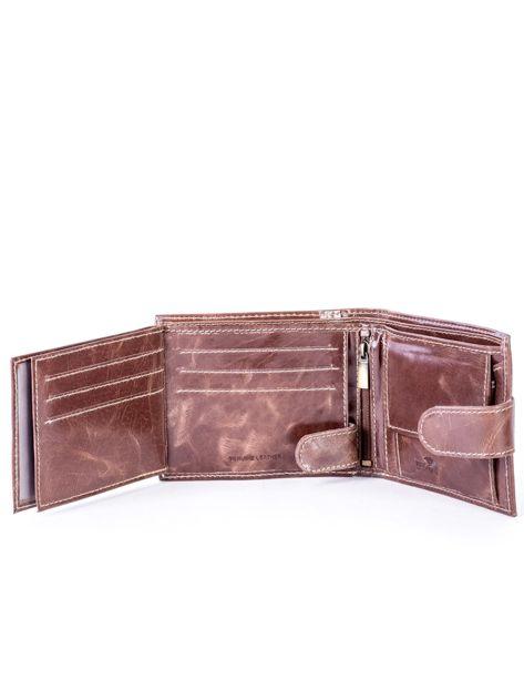 Brązowy portfel ze skóry naturalnej z przetarciami                              zdj.                              6