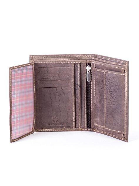 Brązowy portfel ze skóry naturalnej z tłoczeniem                              zdj.                              5