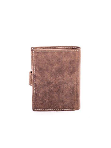 Brązowy portfel ze skóry z klapką                              zdj.                              2