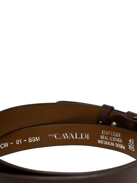 Brązowy skórzany pasek męski z metalową klamrą                              zdj.                              7