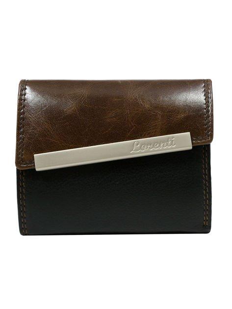 Brązowy skórzany portfel damski z asymetryczną klapką