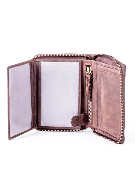 Brązowy skórzany portfel męski na suwak                              zdj.                              5