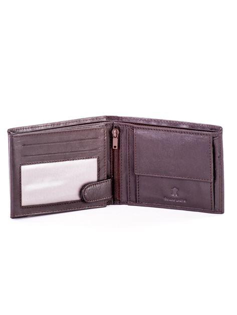 Brązowy skórzany portfel męski w tłoczone paski                               zdj.                              4
