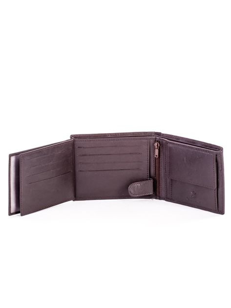 Brązowy skórzany portfel męski w tłoczone paski                               zdj.                              6