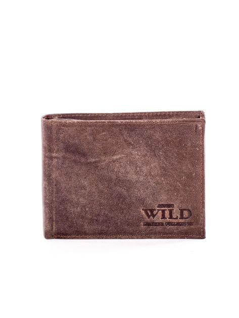 Brązowy skórzany portfel męski z przetarciami                              zdj.                              1