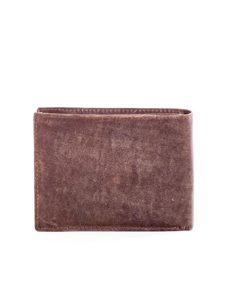 Brązowy skórzany portfel męski z przetarciami                              zdj.                              2