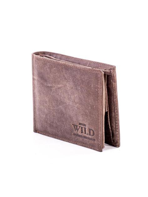 Brązowy skórzany portfel męski z przetarciami                              zdj.                              3