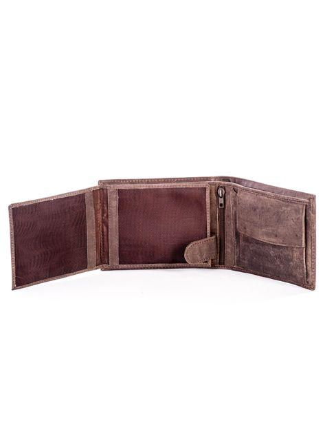 Brązowy skórzany portfel męski z przetarciami                              zdj.                              5