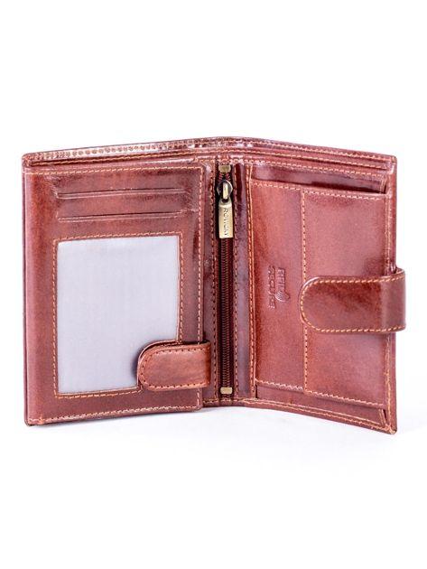 Brązowy skórzany portfel na zatrzask                              zdj.                              4