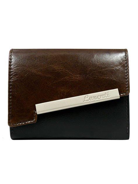 Brązowy skórzany portfel z asymetrycznym zapięciem