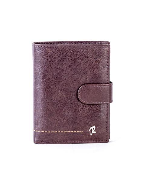 Brązowy skórzany portfel z klapką                              zdj.                              1