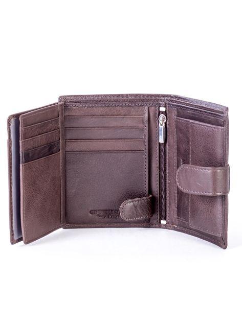 Brązowy skórzany portfel z klapką                              zdj.                              7