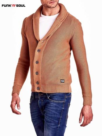 Brązowy sweter męski zapinany na guziki FUNK N SOUL                                  zdj.                                  4