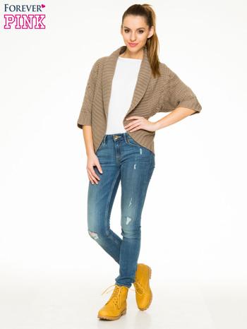 Brązowy sweter narzutka z rękawem 3/4                                  zdj.                                  2