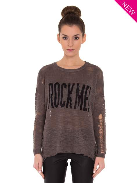 Brązowy sweter z nadrukiem i efektem destroyed                                   zdj.                                  2