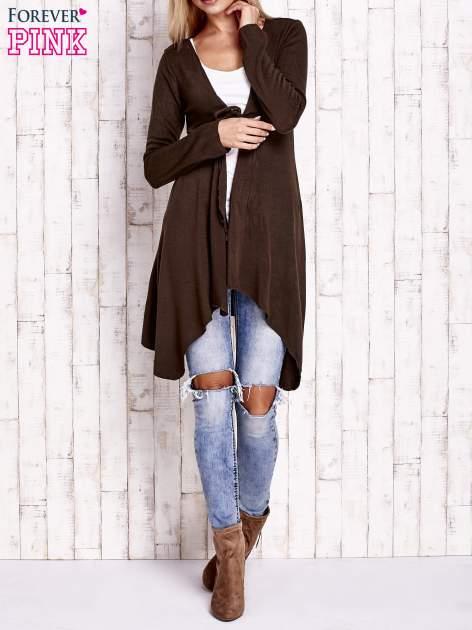 Brązowy wiązany asymetryczny sweter                                  zdj.                                  4
