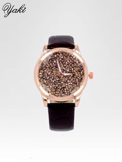 Brązowy zegarek damski na pasku z tarczą glitter