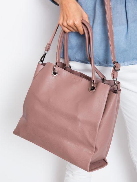 Brudnoróżowa damska torba z ekoskóry                              zdj.                              3