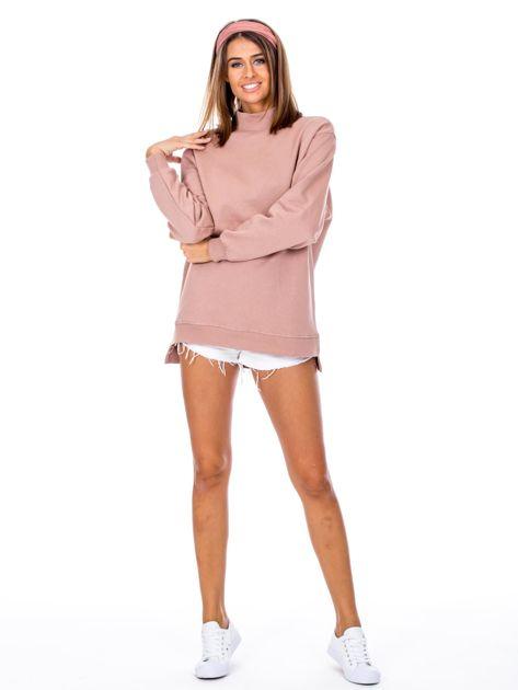 Brudnoróżowa dresowa bluza z półgolfem                              zdj.                              4