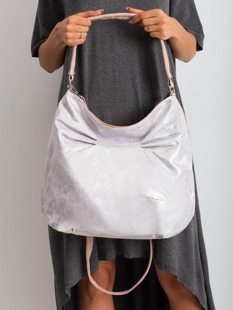 Brudnoróżowa torba z metalicznym połyskiem                              zdj.                              2
