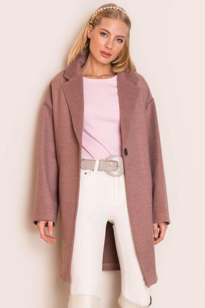 Brudnoróżowy płaszcz damski BSL