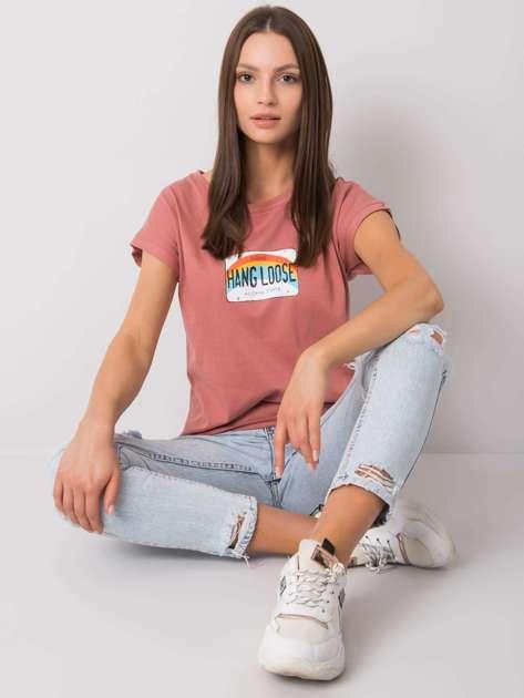 Brudnoróżowy t-shirt z nadrukiem Aloha