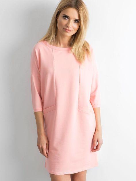 Brzoskwiniowa bawełniana sukienka                              zdj.                              1