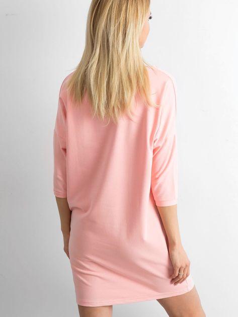 Brzoskwiniowa bawełniana sukienka                              zdj.                              2