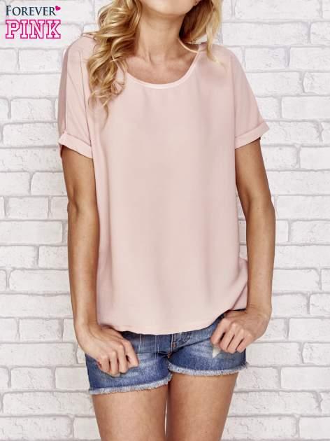 Brzoskwiniowa bluzka koszulowa z koronką z tyłu                                  zdj.                                  1