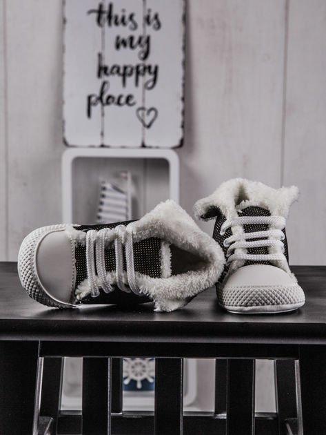 Buciki niemowlęce trampki z ociepleniem czarno-złote                              zdj.                              2