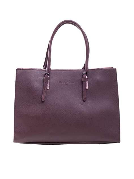 Burgundowa torba damska z uchwytami